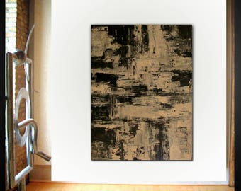 Original large abstract painting palette knife wall art deco by Elsisy 48x36 Free US shipping Black and White