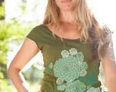 SUMMER SALE women's tshirt, olive green shirt, botanical succulent screenprint, gardening tshirt