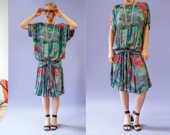 90s Carol Little Avant Garde teal colorful print blousy drop waist dress