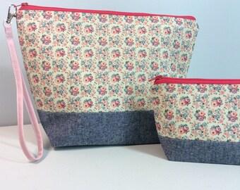 Medium Project Bag and Notions bag set  - Ditzy Floral Print