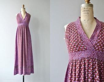 Chettinad blockprint dress | vintage 1970s indian cotton dress | 70s maxi dress