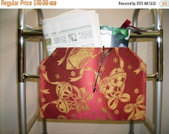 ON SALE Christmas Walker Bag Pouch Red with Gold Ornament Damask Style Print