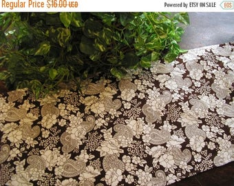 CLEARANCE SALE Table Runner Paisley Floral Brown and White Print Padded