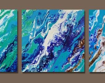 "Teal blue green triptych fluid painting. Original abstract art. 12""x12"" x 1.5""  each canvas."