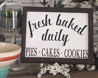 Fresh Baked Sign | Fresh Baked Pies Sign | Fresh Baked Pies | Hand Script | Kitchen Sign | Kitchen Decor | Farmhouse Decor | Wood Sign 12x10
