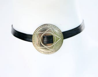 90's Style OOAK handmade Concho Gold Tone Thin Faux Leather Unisex Choker Necklace