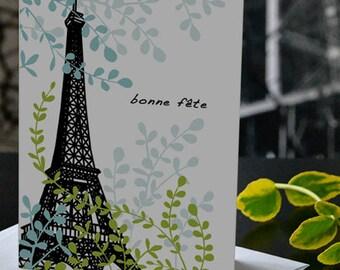 French birthday card, Bonne fête, Eiffel Tower