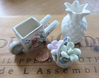 Vintage Miniature Porcelain and China Collection of Flowers, Wheelbarrow and Pineapple Vase