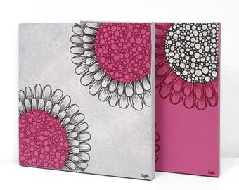 ON SALE Small Original Paintings - Flower Canvas Wall Art - Fuchsia and Gray - Small 21x10