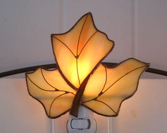 Maple Leaf Stained Glass Night Light no. 3 Maple Leaf Lamp Glass Night Light Glass Nightlight  Stained Glass Light Stained Glass Maple Leaf