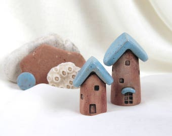 2 Rustic terracotta and Turquoise fairy house Fairy Garden - Hand Made Ceramic Eco-Friendly Home Decor by studio Vishnya