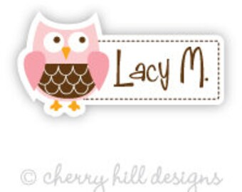 owl Mini die cut labels 1.5 inches wide - seen in Parents Mag and Family Fun Mag - waterproof label - does not fade - dishwasher safe