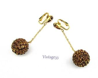 Rhinestone Earrings Amber Ball Drop Clip