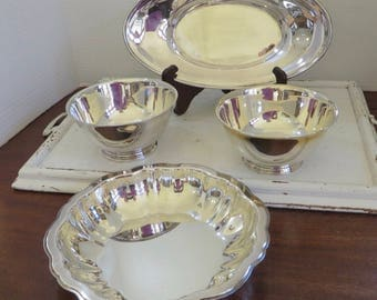 Vintage Lot of Four Oneida Silver Plate Bowls