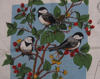 "Garden Birds Appliques Cotton Fabric Panel - 42"" x 36"""