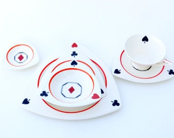"Vintage Salem China ""Card Suits"" Tricorne & Streamline MCM Atomic Art Deco Dinnerware Set for 8, Hand Painted Dishes"