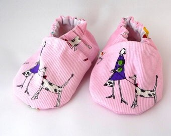 Pink Baby Shoes, Dog Walkers, fabric shoes, handmade baby shoes, baby shoes,soft sole shoes,baby accessories,baby gift idea,baby shower gift