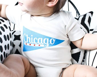 Chicago Pennant - Chicago baby gift, gender neutral baby bodysuit, organic, eco-friendly clothing, Chicago gift, Chicago baby, Chicago Pride