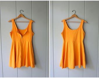 Vintage 80s 90s Cotton Mini Dress Zip Up Jumper Dress Sherbert Orange Summer Tank Dress Sporty Minidress Flirty Basic Sundress Womens Small