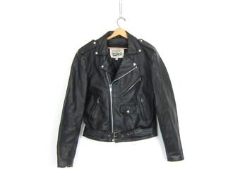 Vintage black leather Coat Moto Biker Jacket Silver Hardware 1980s Motorcycle Coat Open Road Jacket Men's Size 42 Long GS