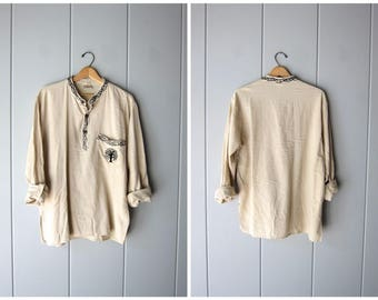 Natural Cotton Shirt Ethnic Pullover Top Minimal Embroidered Gypsy Shirt Long Sleeve Henley Shirt Thin Cotton Collarless Shirt Mens Large