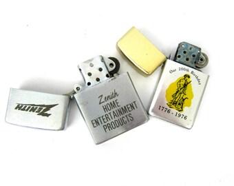 Retro 1970s 1980s Lighter Collection Silver Smoking Accessories Hipster Bar Decor Zenith Advertising Lighter
