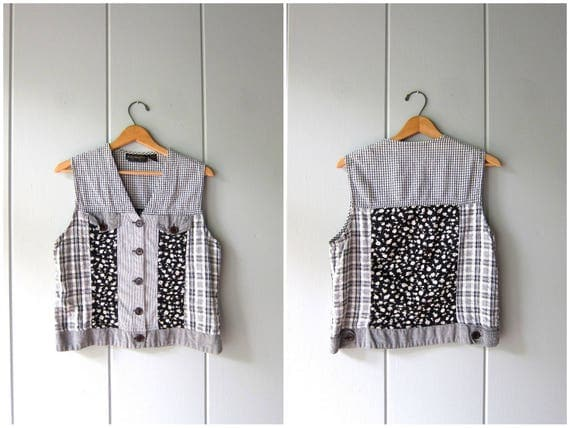 90s Floral Tank Top Black White Checkered Crop Top Button Up Patchwork Flowers Cotton Tank Preppy Bohemian Vest Top Vintage Medium