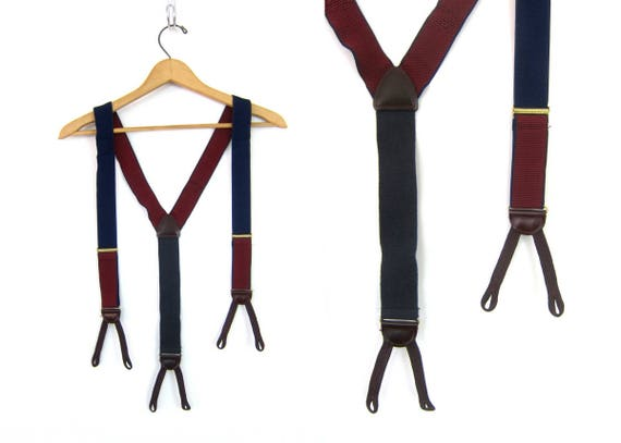 Blue & Red Suspenders Tan Brown Leather Tabs Retro Hipster Mens Belt button clasps Hipster Steampunk Old Fashioned Belt Button Braces Straps