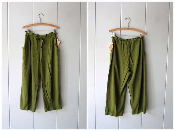 90s Minimal Olive Green Capris Pants Natural Rayon Drawstring Pants Loose Fit Pants Elastic Waist Trousers with Pockets Vintage Women Medium