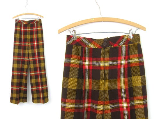 Vintage 60s Bobbie Brooks Pants Plaid Trousers Brown Red Yellow 1960s High Waisted Flared Mod Slacks 28 Inch Waist