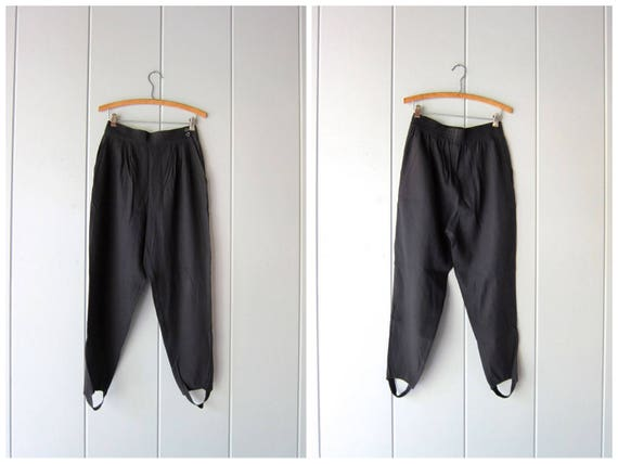 80s Black Stirrup Pants High Rise Pants Elastic Waist 1980s Minimal Riding Pants Modern Casual Pleated Pants w/ Pockets Womens Medium Large
