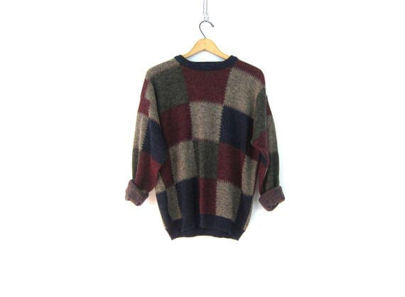Retro Sweater Red Wine Gray Knit Jumper 1980s Soft pullover Crewneck Hipster Indie Girl Chic Sweater Men's Size Medium Large