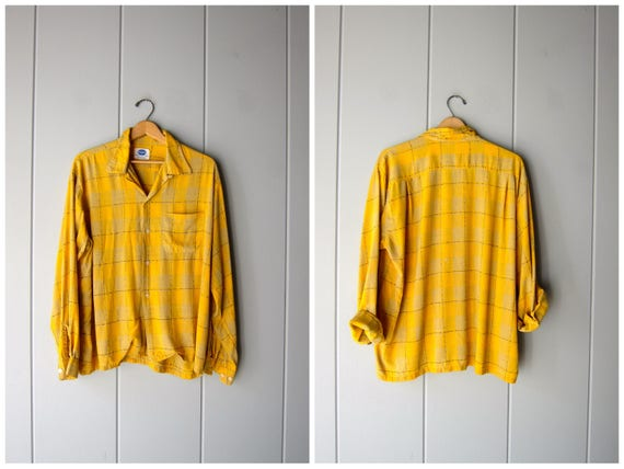 Mustard Yellow 50s Shirt Long Sleeve Button Up Shirt Embroidered Plaid Mechanics Shirt Oversized Boxy Retro Mid Century Top Mens Large
