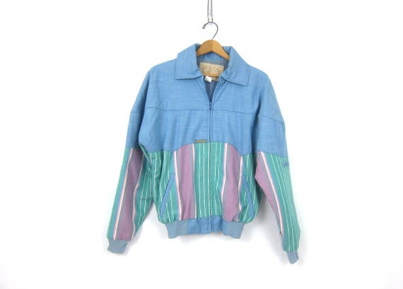 1980s Pastel Southwestern Blue Striped Pink & Turquoise Jacket Vintage Hipster Jacket Street Style Zipper Coat XS Small