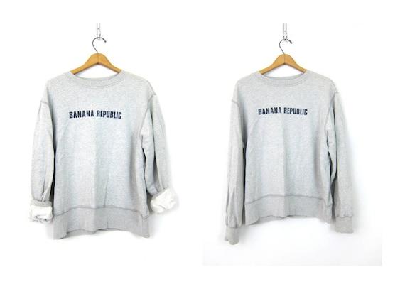 Gray Banana Republic sweatshirt slouchy Distressed Grey Shirt Long Sleeve Sporty Preppy Top Athleticwear Women's Size Medium Large