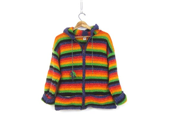 70s Ecuador Sweater Coat Rainbow Striped Hooded Cardigan w/ Pockets Hippie Boho Sweater THICK Cotton Wool Ethnic Coat Vintage Womens Medium