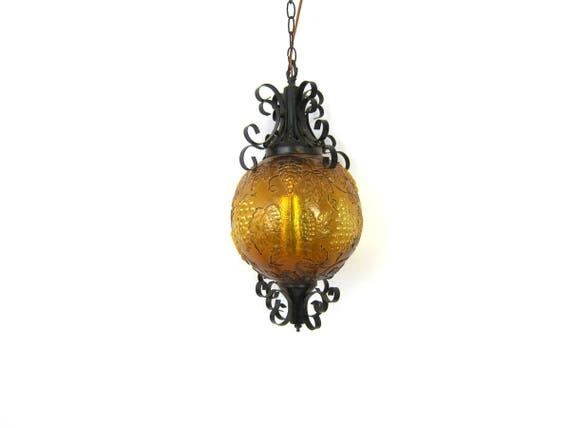 vintage Gold glass Grape Globe Swag Lamp Hanging Chain Light 1970s gothic hanging swag lamp Retro Home Decor Lighting