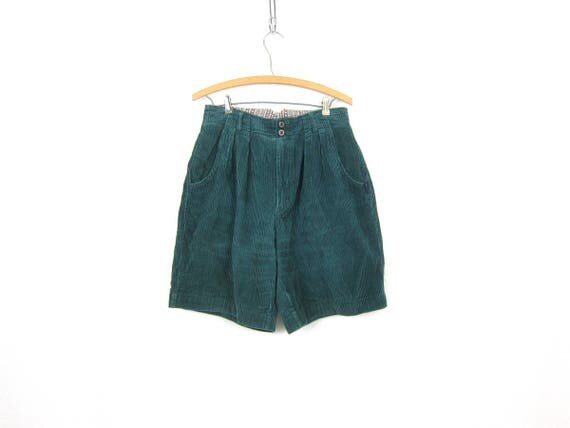 80s Corduroy Shorts Cotton High Waist Shorts Blue Green Fall Shorts Modern Pocket Shorts Minimal Womens Size 13 Large