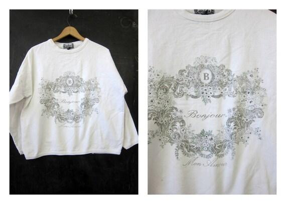 White BONJOUR Sweatshirt 1980s Baggy Long Sleeve Cotton Shirt Women's Oversized Top Size OSFM One Size