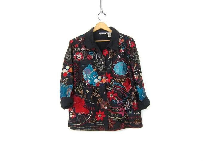 Black Silk Jacket Boho Floral Embroidery Coat Lightweight Silk Blazer Coat Button Up Embroidered Jacket Hipster Coat Women's size Medium