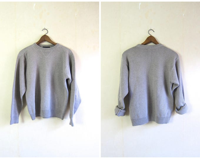 Beige Cotton Boyfriend Sweater 90s Basic Knit Oatmeal Pullover 1990s Simple Thick Knit Athletic Top Vintage Sweater Preppy Mens Medium