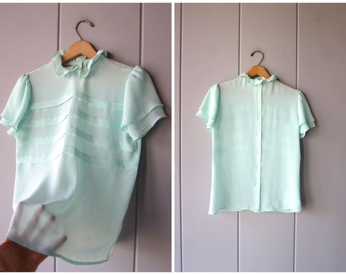 Mint Green Sheer Blouse Romantic LOLITA Top Vintage 80s Ruffled Blouse Short Sleeves See Through Top Back Buttons Up Womens Medium Large