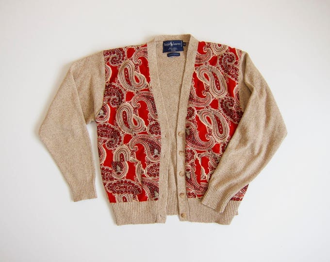 Silk Knit Sweater | Ralph Lauren Cardigan | 90s Paisley Block Print Sweater | Red Beige Button Up Sweater Top | Preppy Vintage Womens Medium
