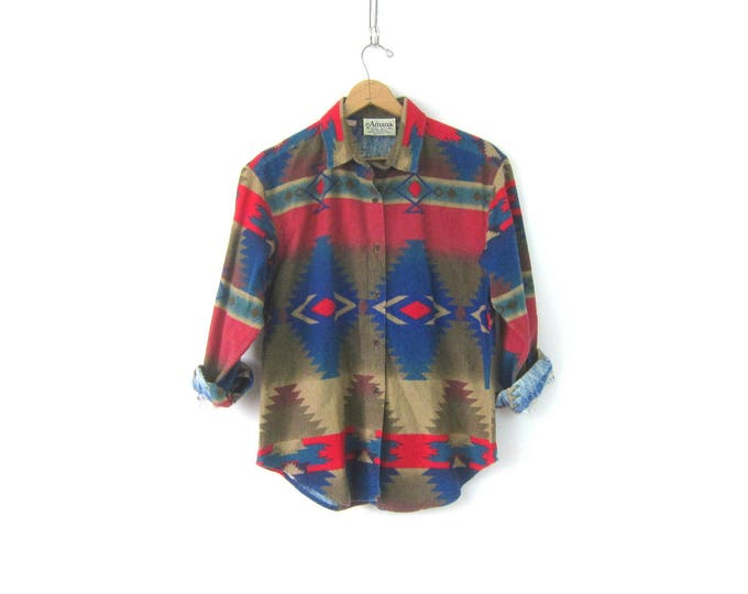 90s Western Flannel Shirt Blue Red Southwestern Pattern Shirt Urban Hipster Rugged cowgirl Tribal Top vintage Blouse Women's Size Large