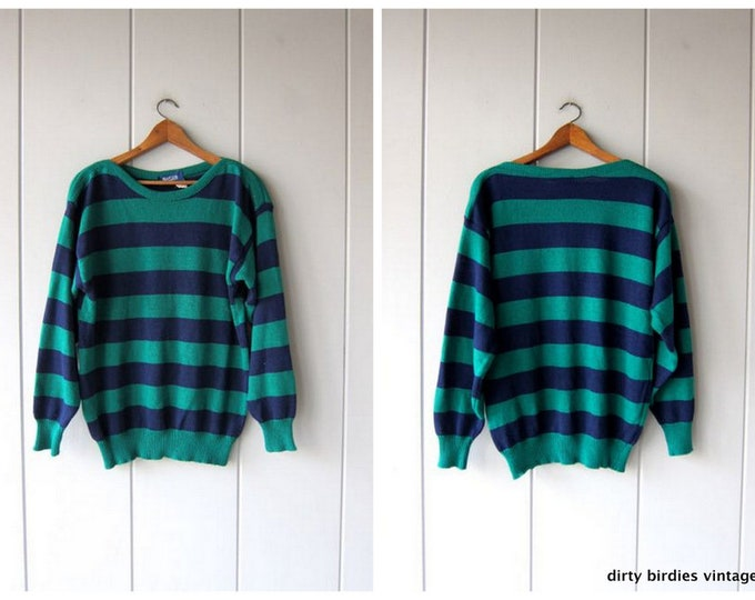 80s Striped Sweater Boat Neck Green Blue Bold Stripe Sweater Vintage Thin Knit SOFT Slouchy Pullover Hipster Preppy Womens Medium Large