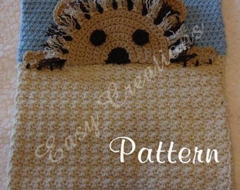 PDF CROCHET PATTERN Peek-a-Lion, Lion Pajama Pillow, boy Pj bag, girl Pj pillow, Pj animal pillow, pet Pj bag
