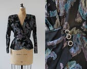 vintage 1980s blouse / 80s silver purple blue lurex wrap top / 80s does 40s peplum jacket / 80s black evening jacket / Ricki Lang for Nuit
