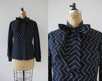 vintage 1970s blouse / 70s chevron stripe blouse / 1970s pussy bow shirt / 70s navy striped top / 70s button up top / medium large