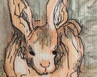Easter Bunny Rabbit, original watercolor art, framed 8x10
