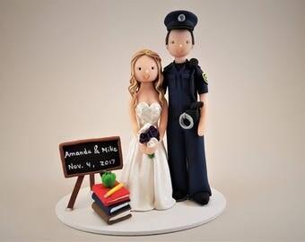 Police Officer & Teacher Customized Wedding Cake Topper